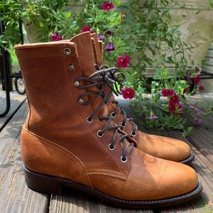 Justin Leather Lace-Up Tan Style 420 Boots